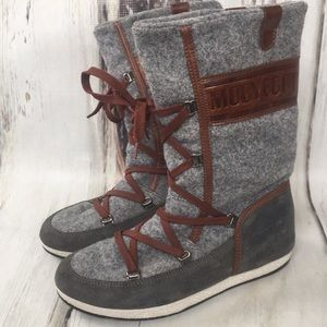 Moon Boot Tecnica Gray Brown Lace Boots Winter 6
